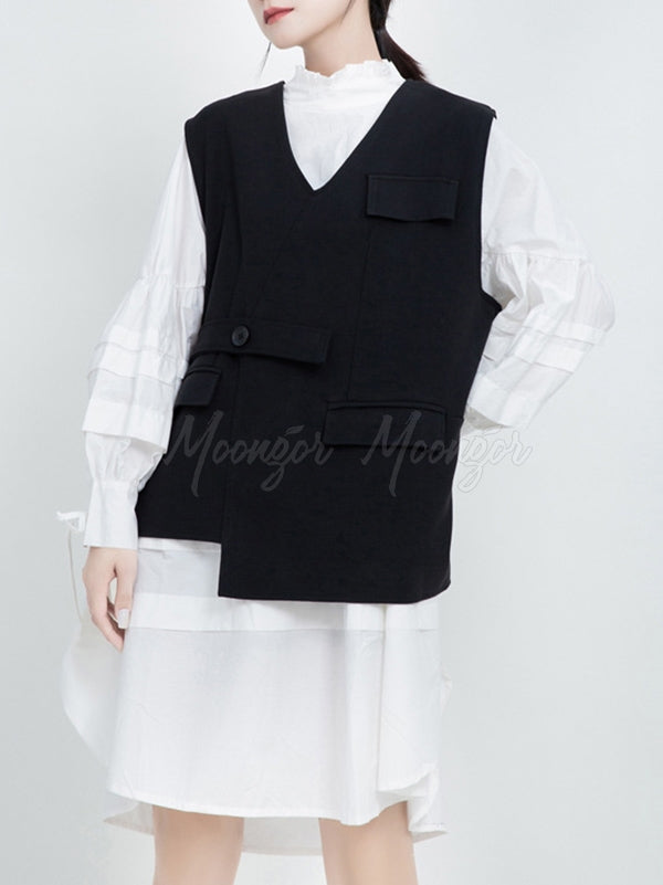 Casual Solid Cropped Goth V-neck Vest