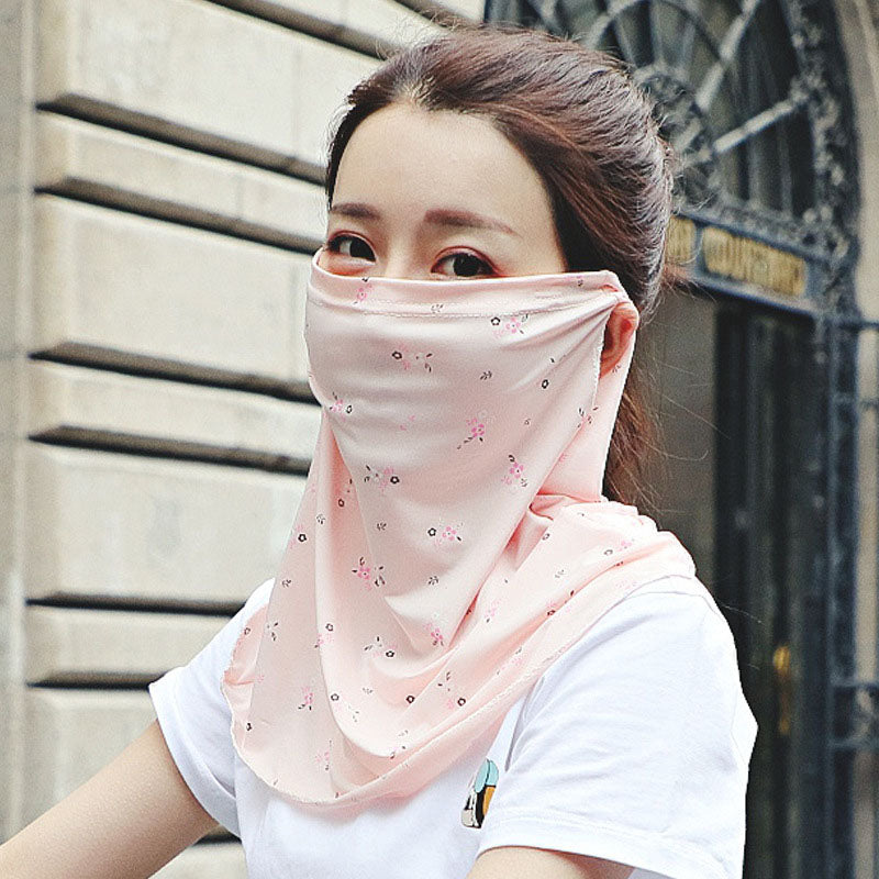 Floral Breathable Ice Silk Sunscreen Mask