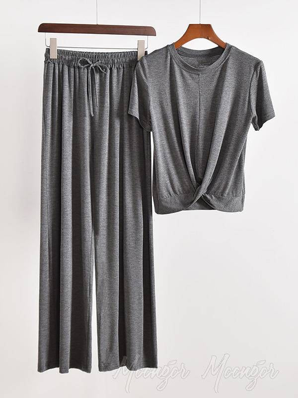 Two Pieces Solid Color Loose Comfort T-Shirt And Pants Suit
