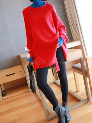 Loose Split-Front Turtleneck Splicing Sweater