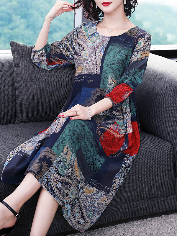 Vintage Loose Oversize Multicolor Printed Dress