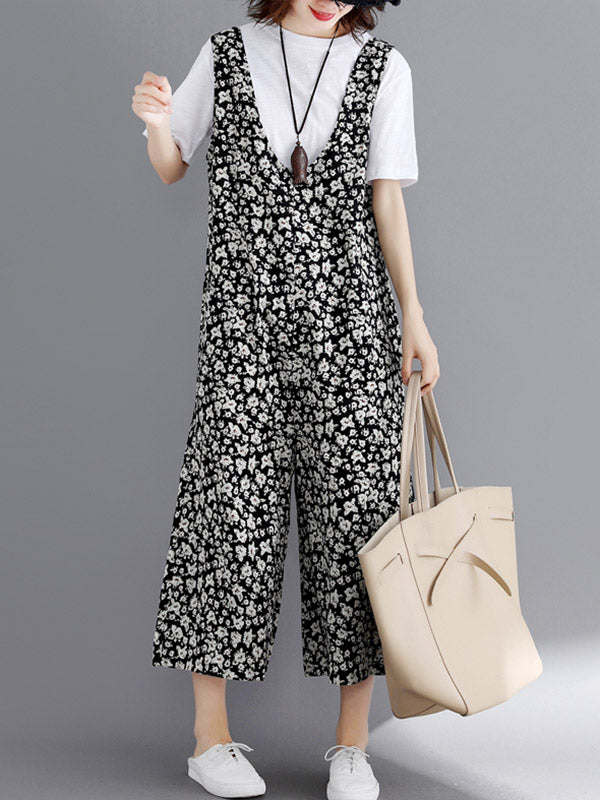 Loose Floral Wide-leg Jumpsuit