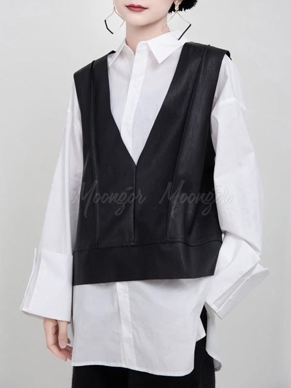 Black V-Neck Fleece PU Vest
