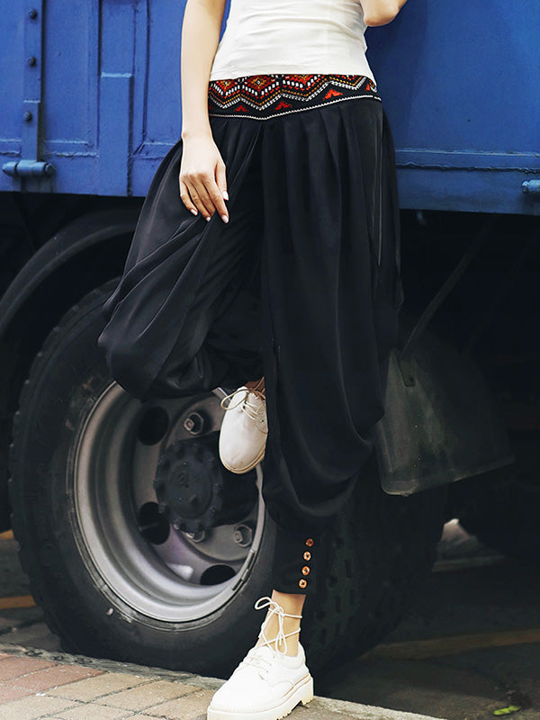 Loose Chiffon Embroidered Wide Leg Harem Pants