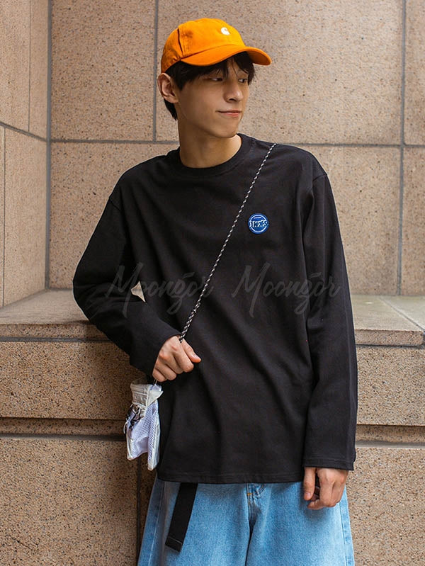 Men Loose Embroidered Logo Long Sleeve T-Shirt