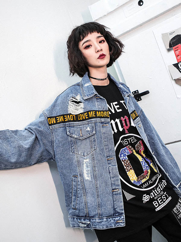 Loose Shredded Street Denim Jacket