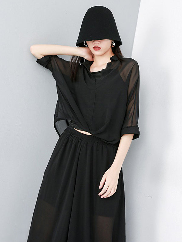 Light Chiffon Solid Batwing Sleeves Shirt