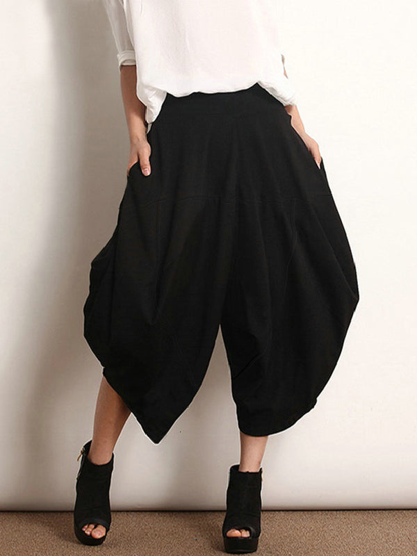Loose Simple Black Split-joint Casual Pants