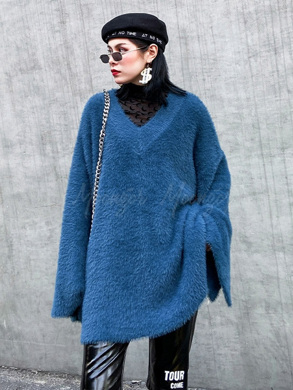Loose V-Neck Mohair Knitting Sweater