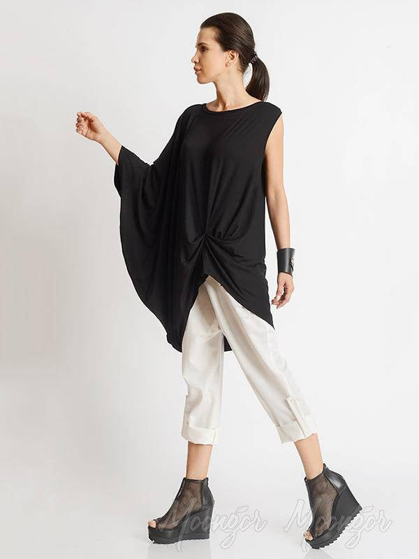 Asymmetric Round-Neck One-Sleeve T-Shirt