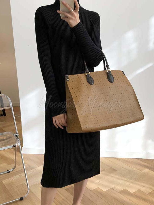 Casual Slim Comfortable High-Neck Long Knitting Dress