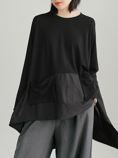 Split-joint Loose High-low Simple Shirt Top