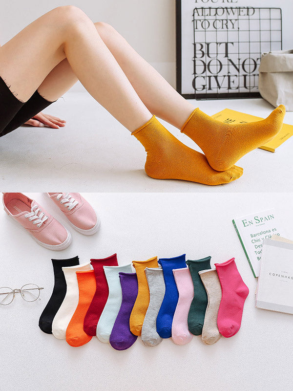 Solid Color Rolled Socks