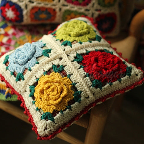 Handmade Hand Hook Stereo Flower Pillow Covers