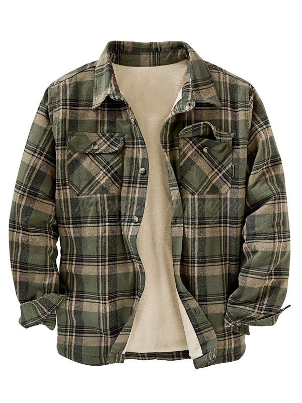 Men Long Sleeves Winter Fleece Lined Plaid Flannel Retro Shirt