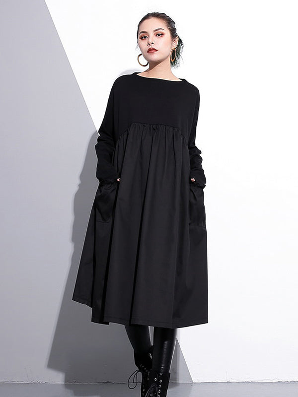 006c5f0a122 Loose Black Split-joint Long Sleeves Dress – moongor