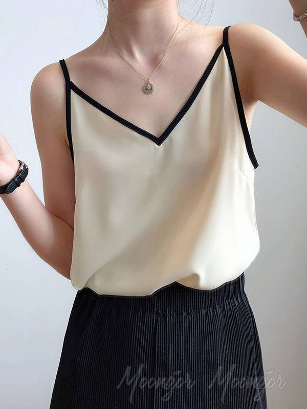 Chiffon Backless V-Neck Vest
