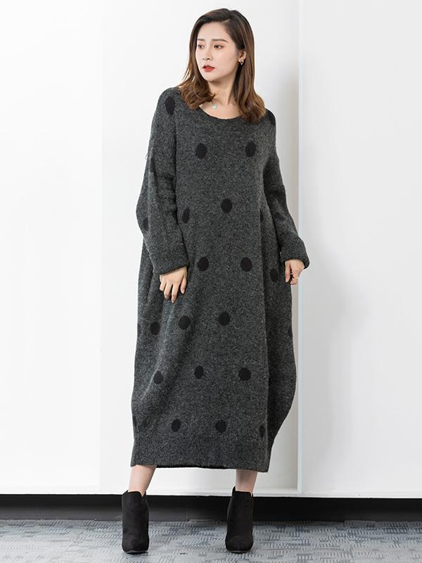 Warm Knitting Polka-Dot Round-neck Sweater Dress