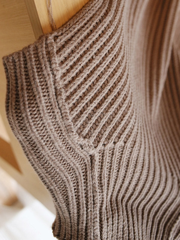 Casual High-Neck Sleeveless Knitwear