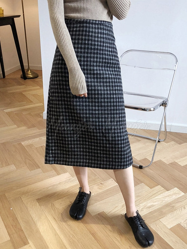 Casual Plaid Woolen Hip-Package Skirts