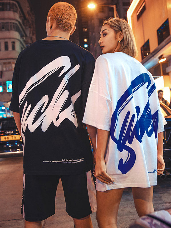 Nuthink Street Chic Loose Hip-hop Lovers of T-shirt