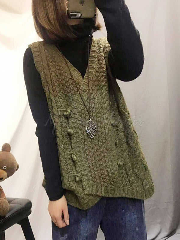Vintage V-Neck Cropped Wool Vest