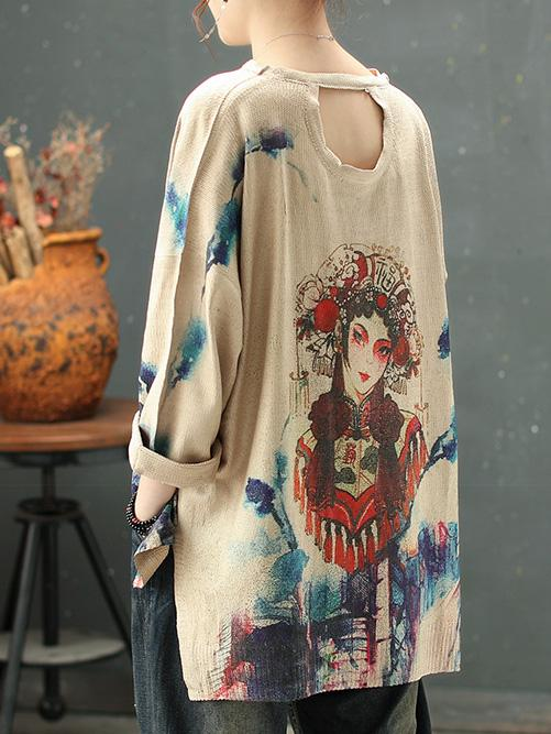 National Style Printed Sweater