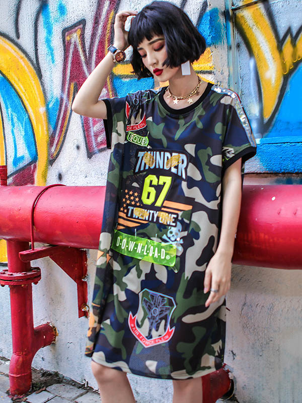 48d9e539bfd Camouflage Printed T-Shirt Dress