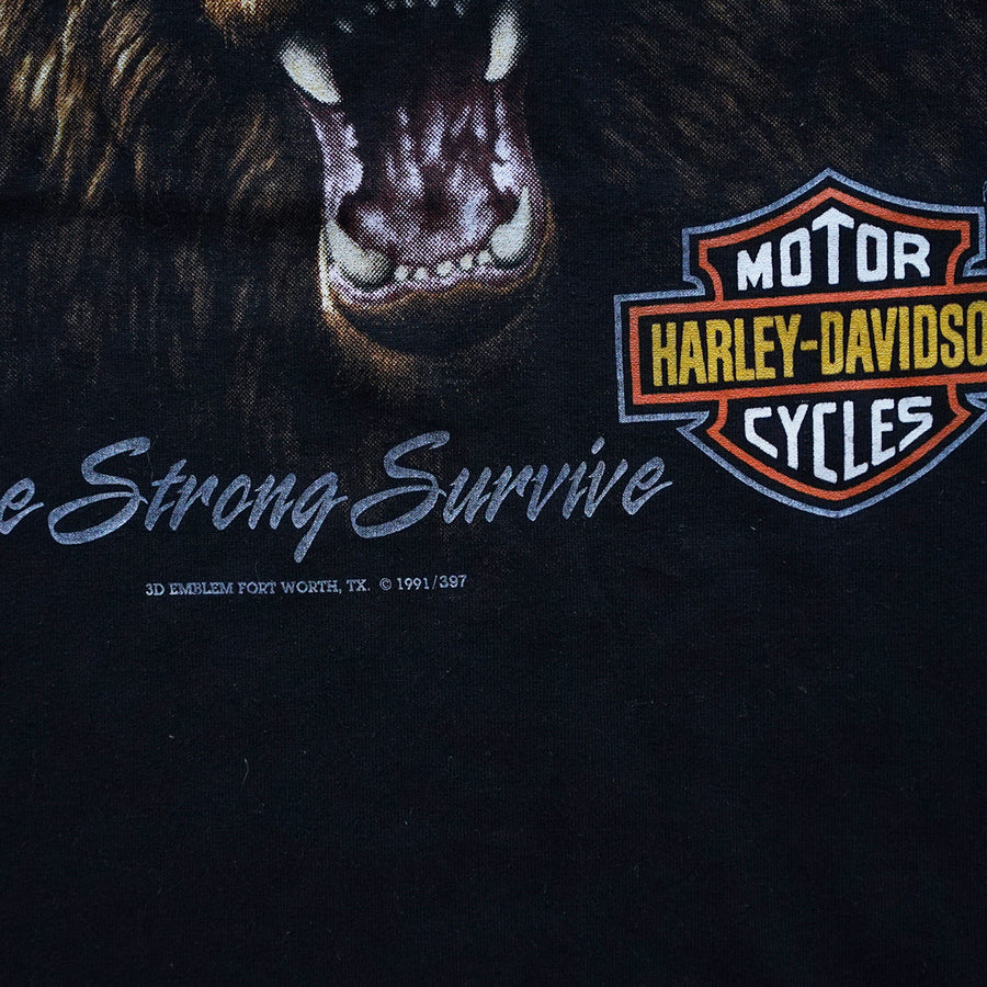 Vintage 1991 Harley-Davidson 'The Strong Survive' 3D Emblem T-Shirt