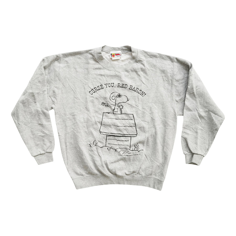 Vintage 90s Peanuts 'Curse You, Red Baron!' Sweater