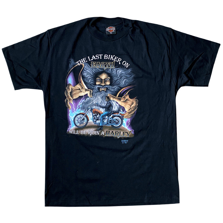 Vintage 1990 Harley-Davidson 3D Emblem 'The Last Biker On Earth' T-Shirt