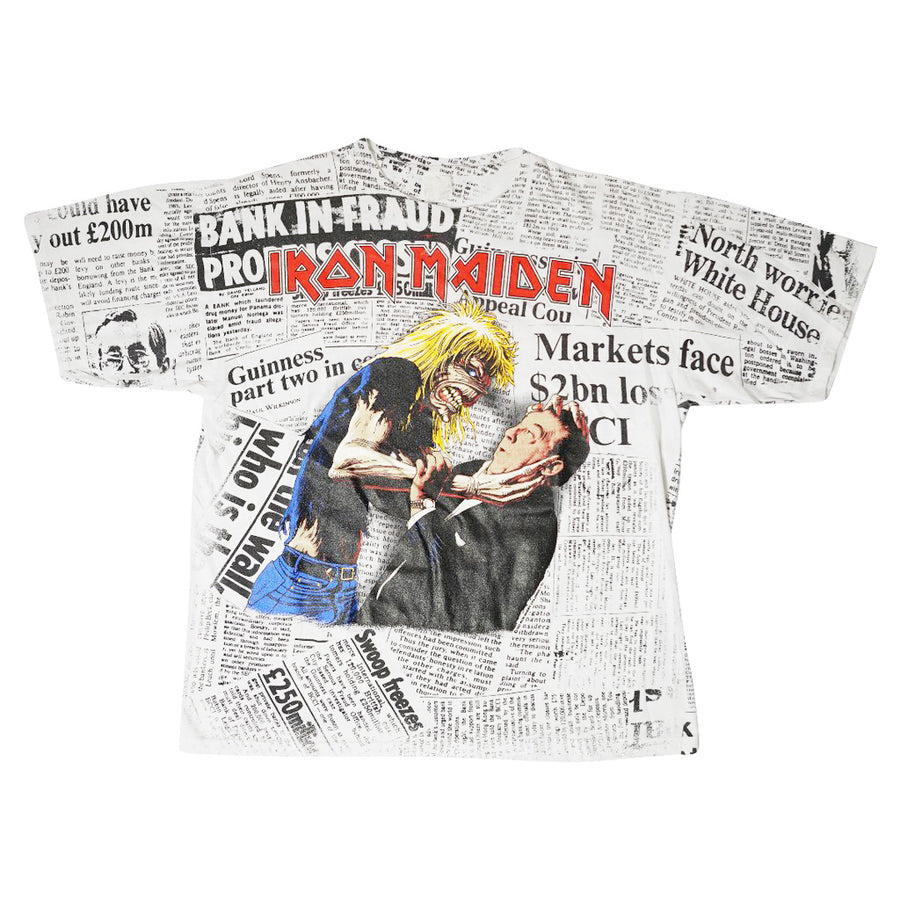 Vintage 1992 Iron Maiden 'Be Quick Or Be Dead' Newspaper T-Shirt