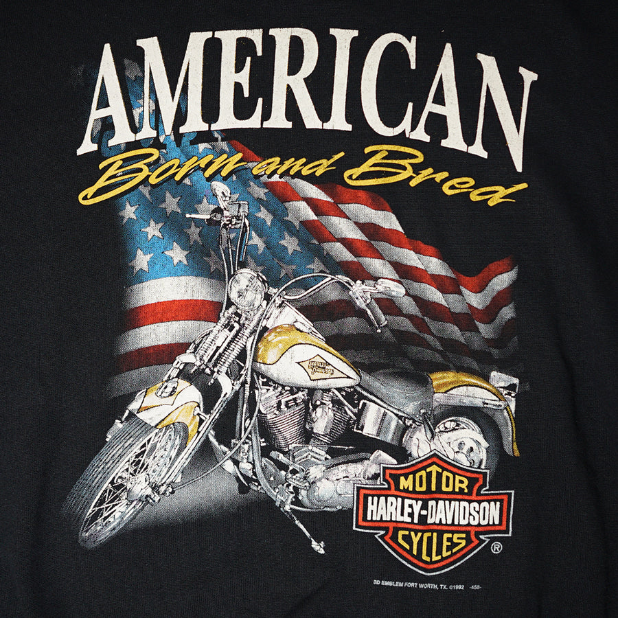 Vintage 1992 Harley-Davidson 'American Born And Bread' 3D Emblem Sweater