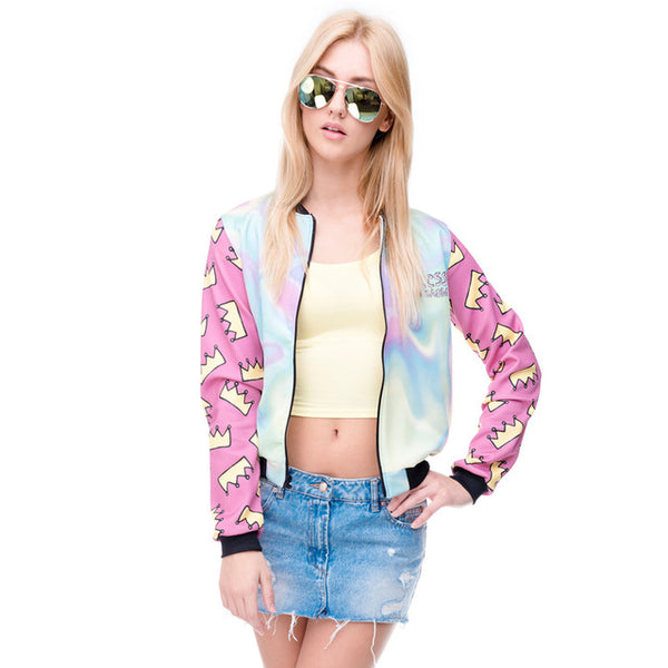 Women Bomber Jacket Crown Outwear Coats