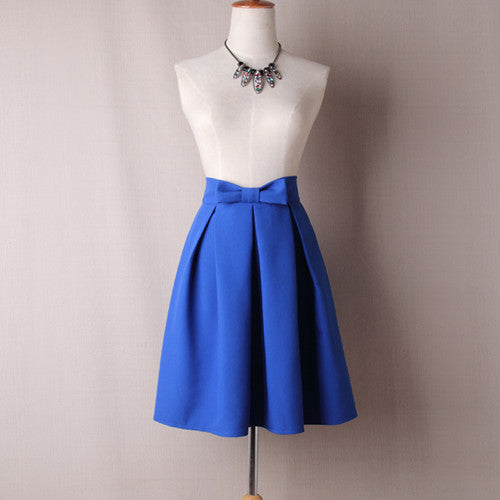 Skirt High Waist Pleated Knee Length Skirt