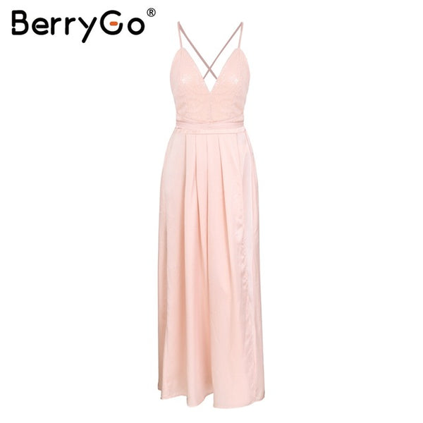 Backless satin long dress women evening summer dress