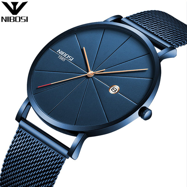 Men Watches Blue Stainless Steel Ultra Thin