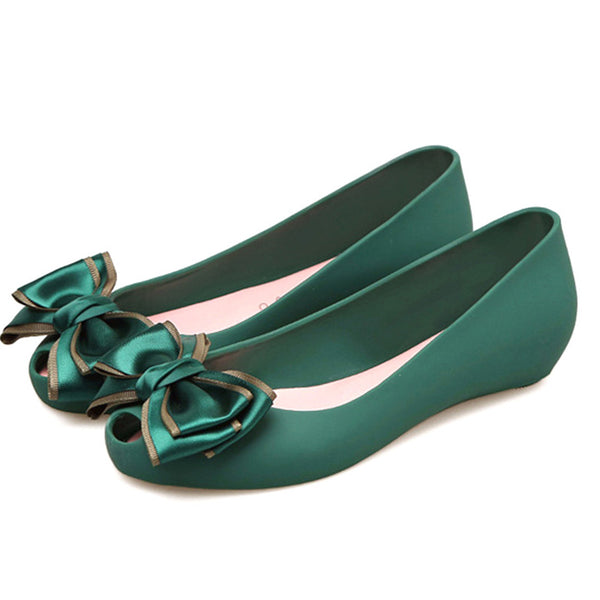 Jelly Shoes Spring Summer Flat Heel Sweet Bow Sandals
