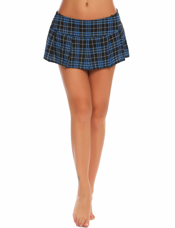 Sexy Women Mini Skirt Role Cosplay Vintage Plaid