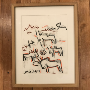 "Kader Boly ""Herd 1"" Oil Pastel on Paper-Original"