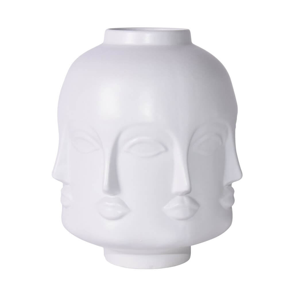 Short Matte White Face Jar