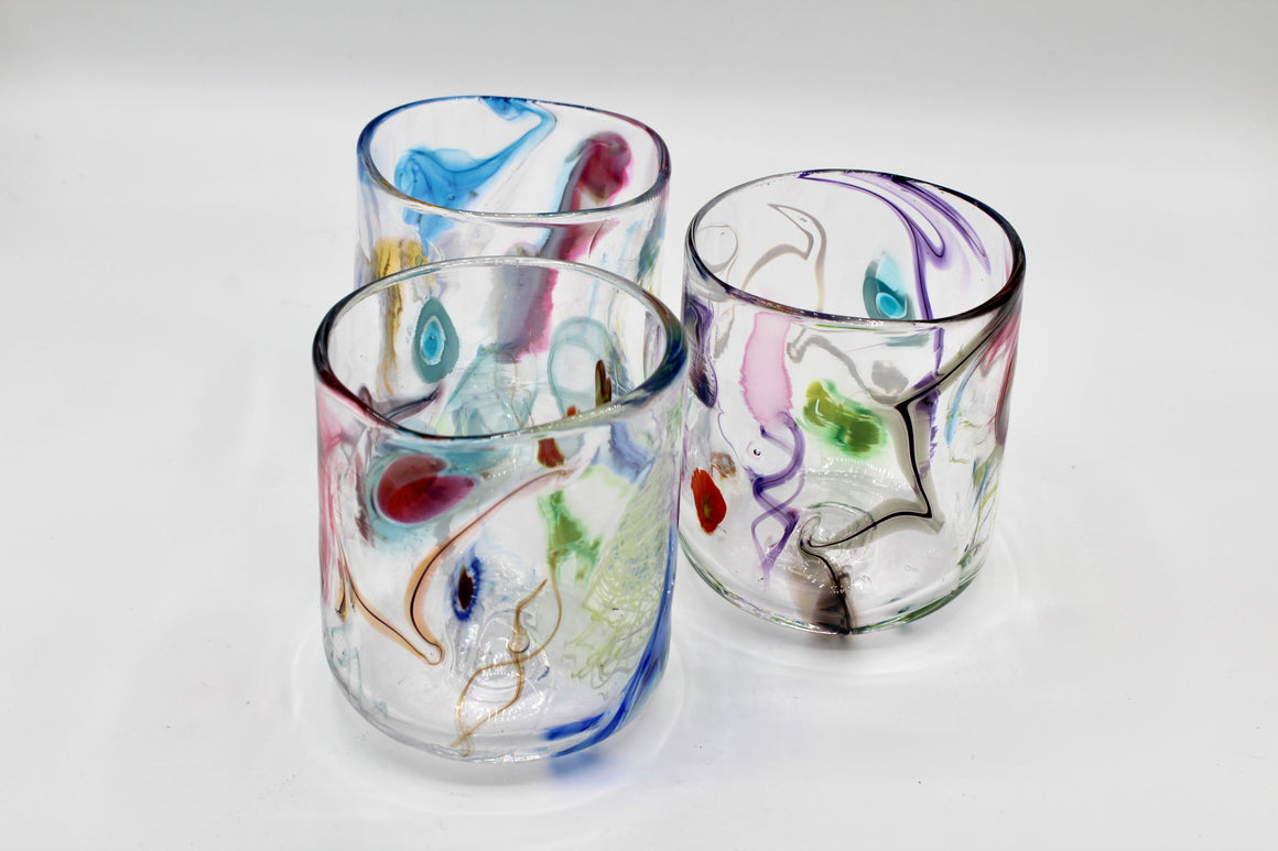 Hand Blown Colorful Tumbler Glass