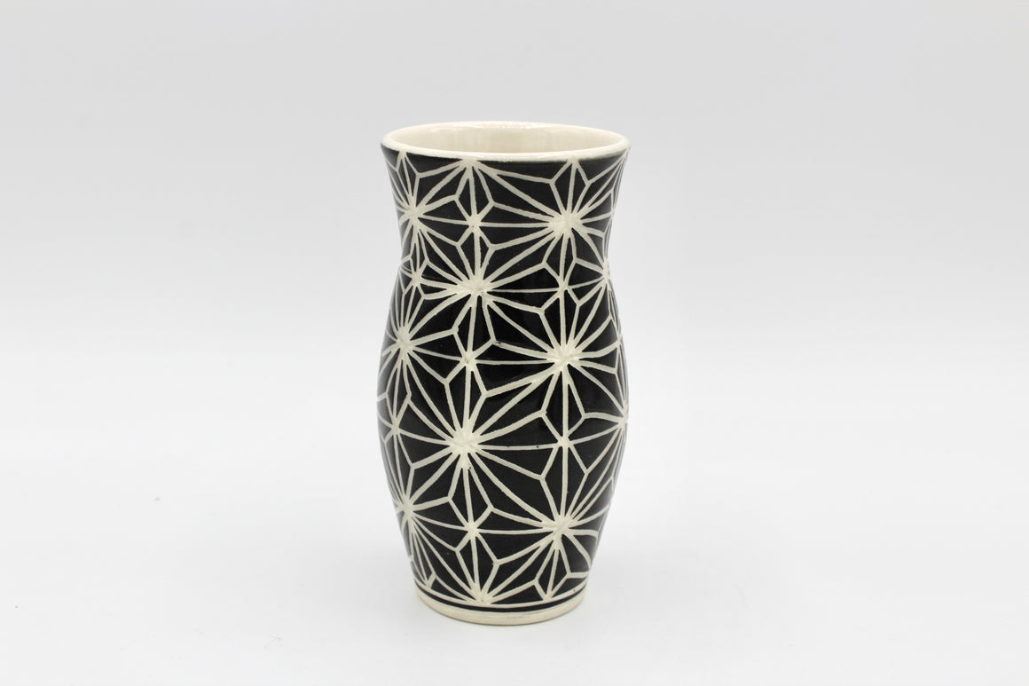 Small Black and White English Porcelain Vase
