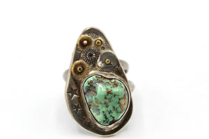 Star Mechanical Turquoise Silver Ring