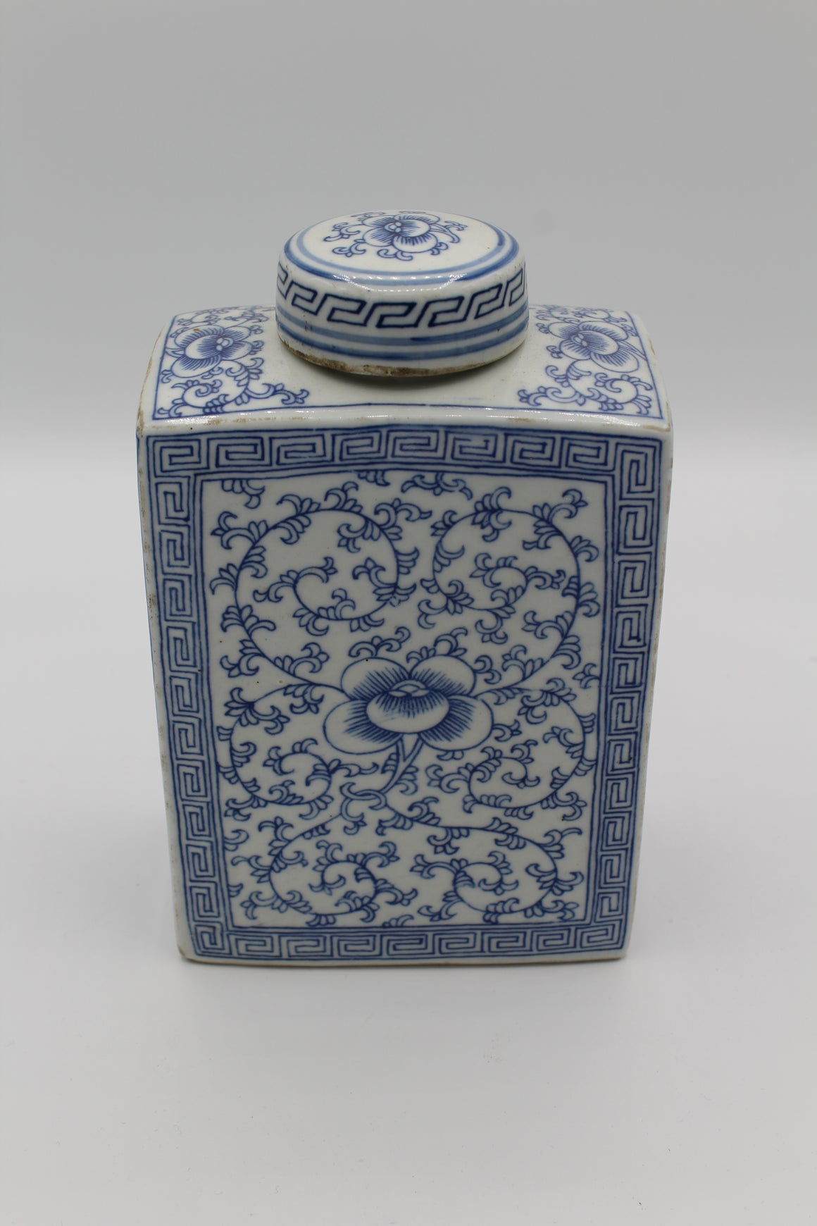 Floral Blue Jar with Lid