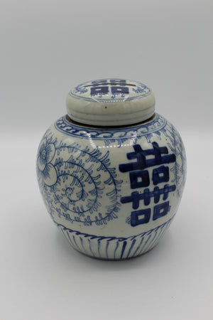 Floral Blue Pot with Lid