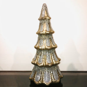 Mercury Glass Tree With Silver Glitter