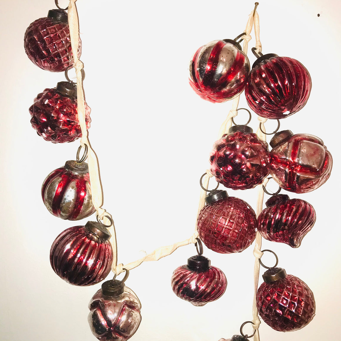 Red Mercury Glass Orgament Garland with Silver Tones