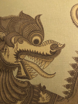 Foo Dog Printed Linen Pillow
