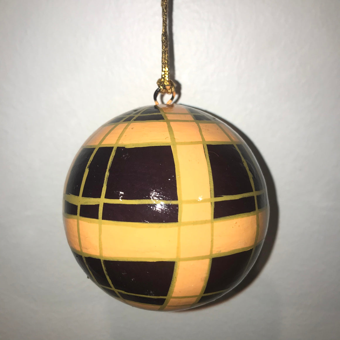 Hand Painted Purple and Orange Plaid Ornaments